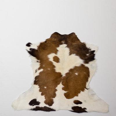 KOELAP Kalfshuid Vloerkleed - Bruinwit Gevlekt - 100 x 85 cm - 1001666