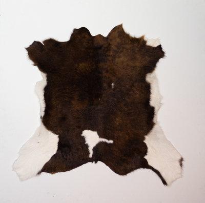 KOELAP Kalfshuid Vloerkleed - Bruinwit Gevlekt - 100 x 95 cm - 1002207