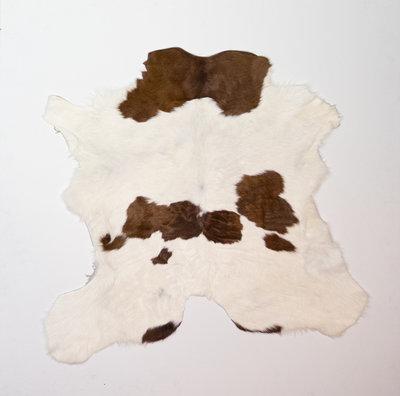 KOELAP Kalfshuid Vloerkleed - Bruinwit Gevlekt - 100 x 95 cm - 1002209