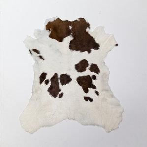 KOELAP Kalfshuid Vloerkleed - Bruinwit Gevlekt - 85 x 95 cm - 1002507